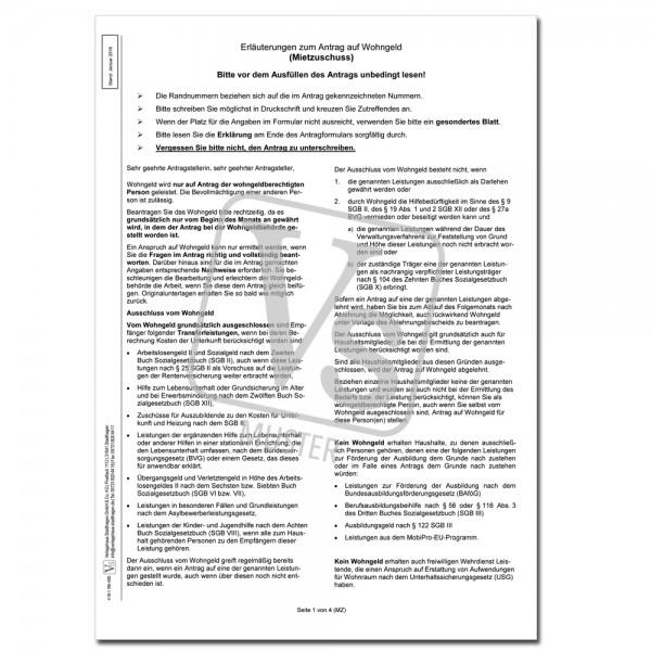 Erläuterungen zum Antrag auf Wohngeld (Mietzuschuss)