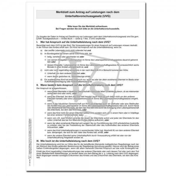 Merkblatt zum Antrag auf Leistungen nach dem Unterhaltsvorschussgesetz