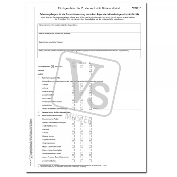Erhebungsbogen für die Erstuntersuchung