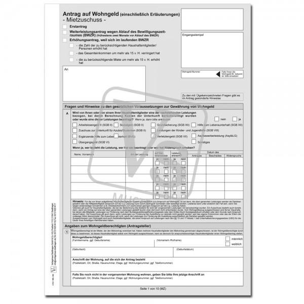 Antrag auf Wohngeld (Mietzuschuss) + Erläuterung