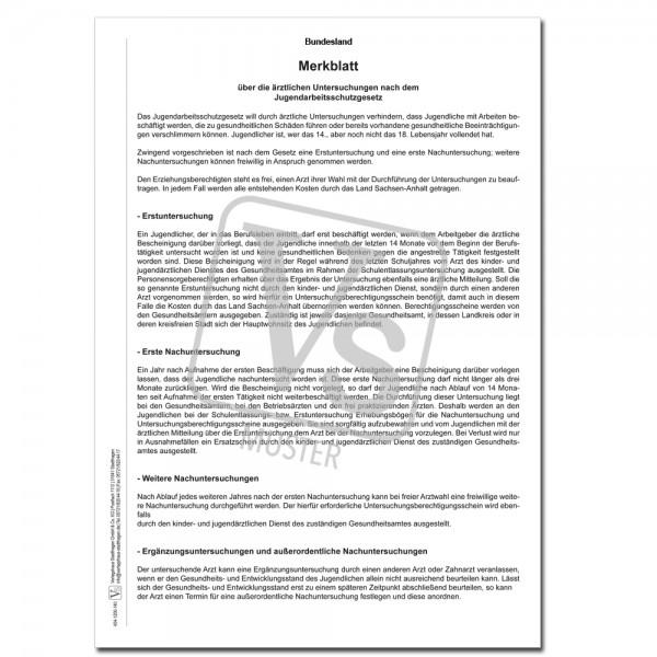Merkblatt über die ärztlichen Untersuchungen nach dem JArbSchG