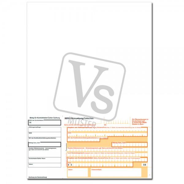 SEPA-Überweisungsschein / Einzahlschein Beleg links