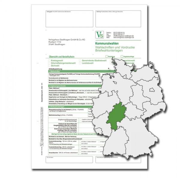 Bestellschein zu den Kommunalwahlen für Wahlschriften & Vordrucke und Briefwahlunterlagen