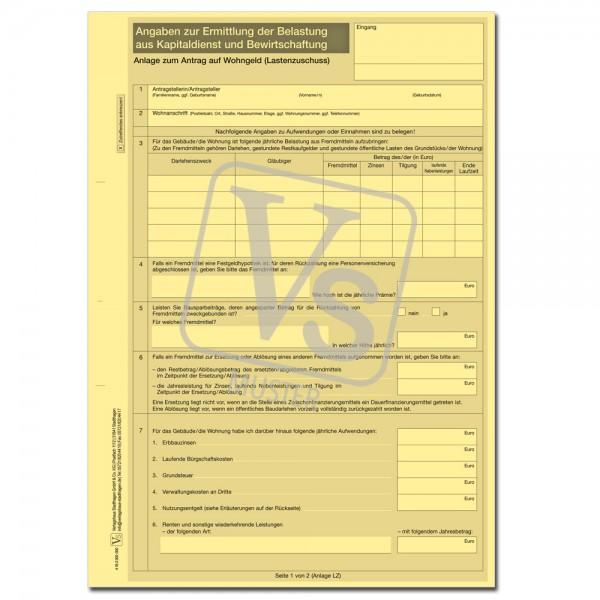 Anlage zum Antrag auf Wohngeld/Lastenzuschuss