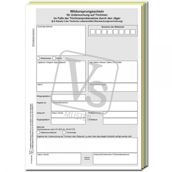 Wildursprungsschein im Einzelsatz Format DIN A4