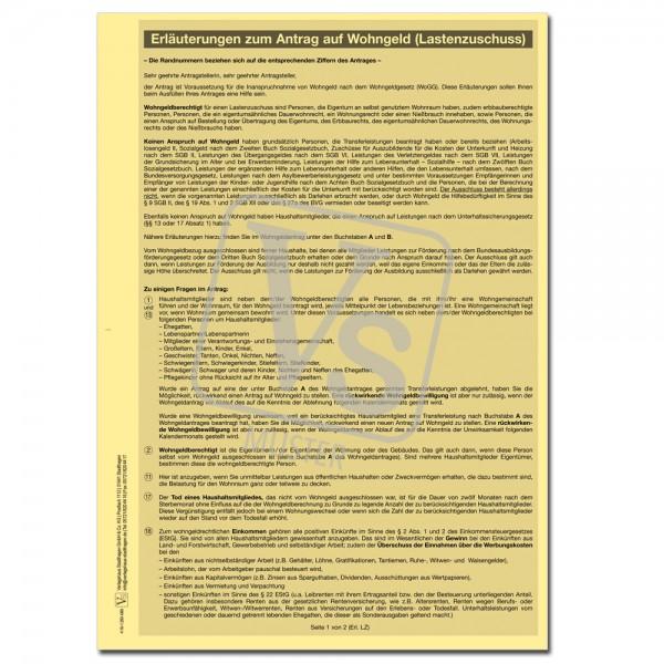 Erläuterungen zum Antrag auf Wohngeld (Lastenzuschuss)