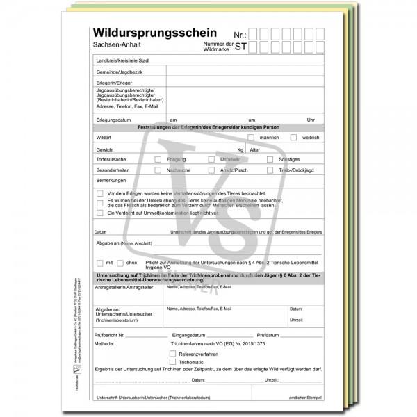 Wildursprungsschein für Sachsen-Anhalt