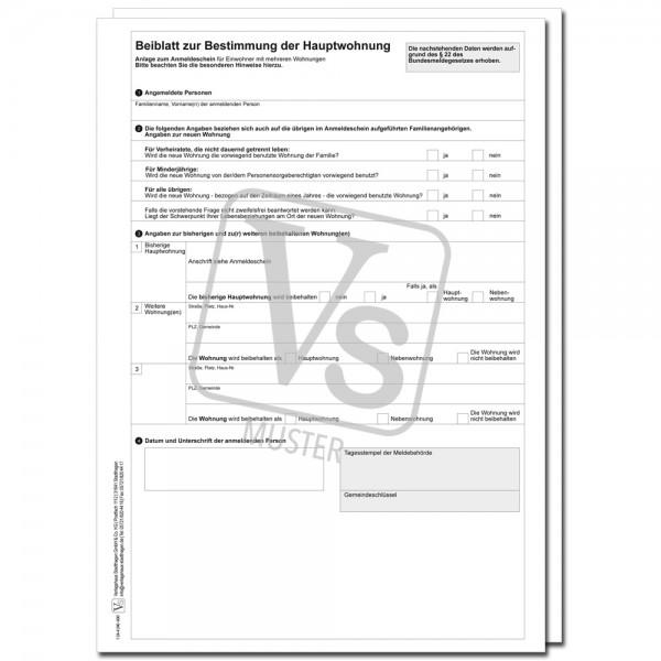 Beiblatt zur Bestimmung der Hauptwohnung zur Datenerfassung und späteren Übernahme in die EDV