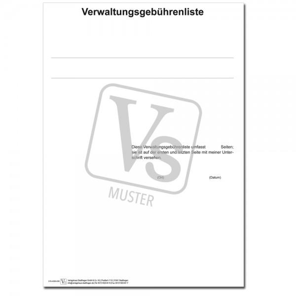 Verwaltungsgebühren-Liste