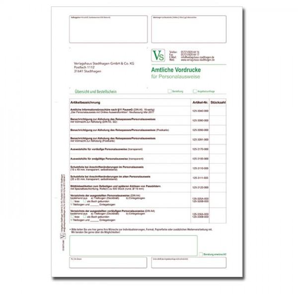 Bestellschein für Personalausweiswesen