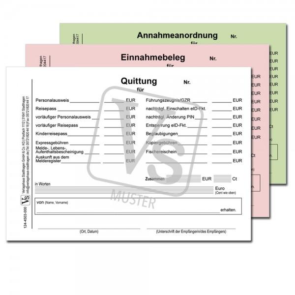 Quittung / Einnahmebeleg / Annahmeanordnung über Gebühren des Einwohnermeldeamtes