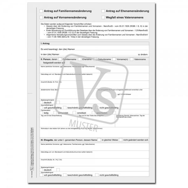Antrag auf Änderung des Familiennamens/Ehenamens/Vornamens/ Wegfall eines Vatersnamen
