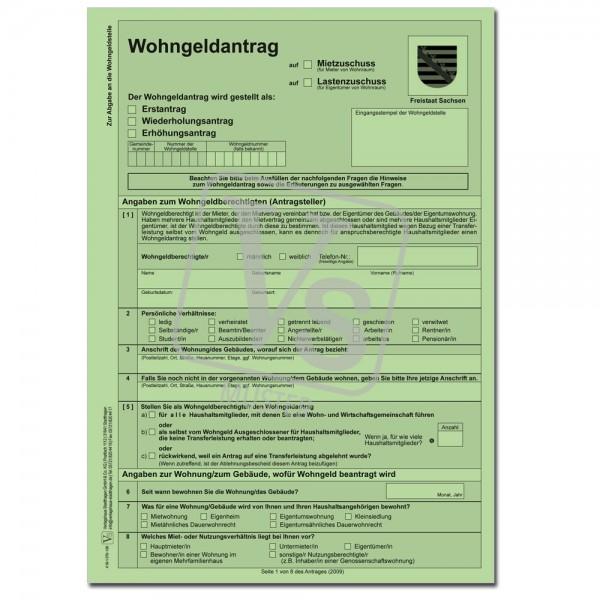 Antrag auf Wohngeld (Mietzuschuss/Lastenzuschuss) Mantelbogen mit Erläuterungen + Hinweisen zum Wohn