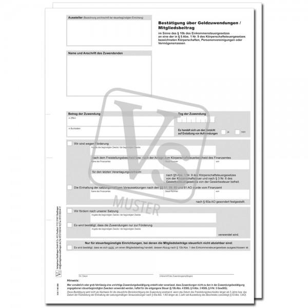 Bestätigung über Geldzuwendungen / Mitgliedsbeitrag an eine der in §5 Abs. 1 Nr. 9 des KStG