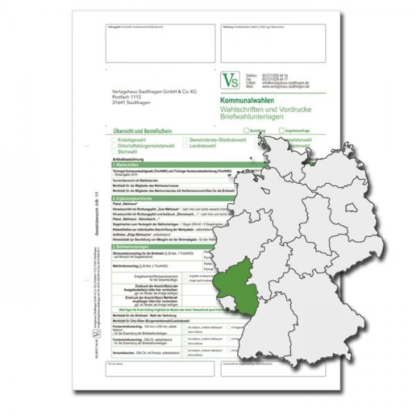 Bestellschein zur Landtagswahl für Wahlschriften & Vordrucke und Briefwahlunterlagen
