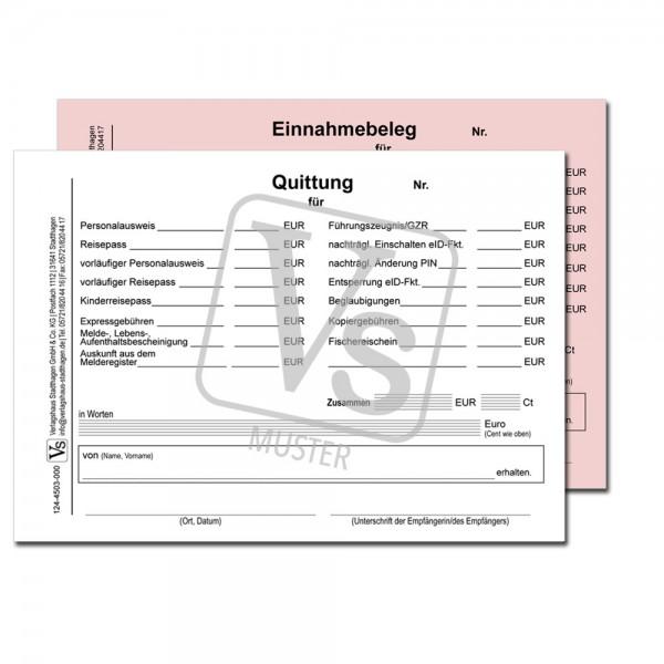 Quittung / Einnahmebeleg über Gebühren des Einwohnermeldeamtes