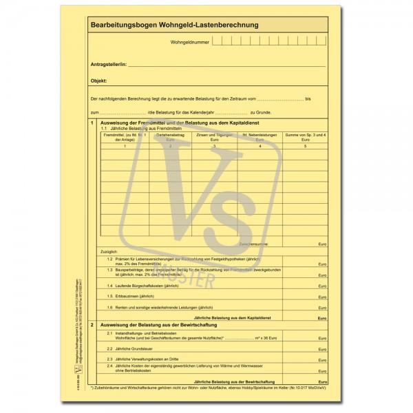 Berechnungsbogen Wohngeld-Lastenberechnung