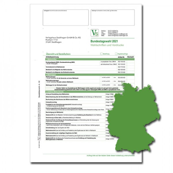 Bestellschein zur Bundestagswahl 2021 für Wahlschriften & Vordrucke