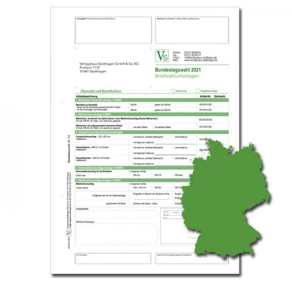 Bestellschein zur Bundestagswahl 2021 für Briefwahlunterlagen
