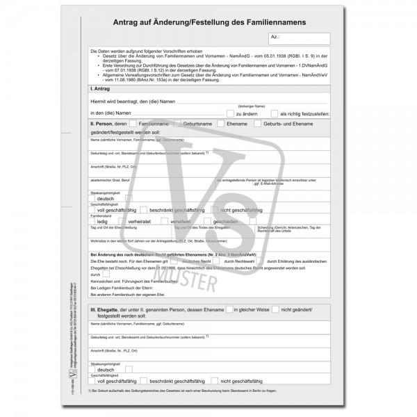Antrag auf Änderung/Feststellung des Familiennamens