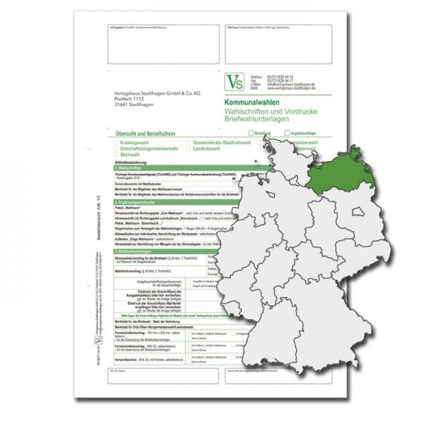 Bestellschein zu den Direktwahlen für Wahlschriften & Vordrucke und Briefwahlunterlagen