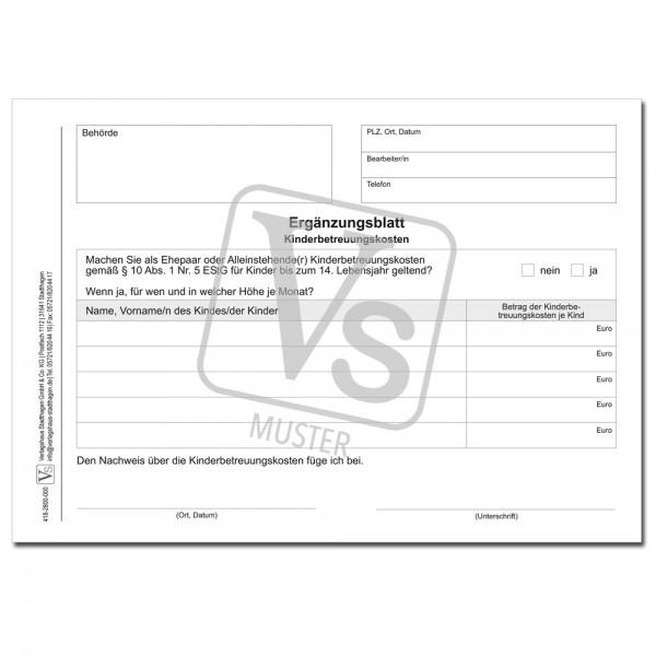 Ergänzungsblatt Kinderbetreuungskosten (§ 10 Abs. 1 Nr. 5 EStG)