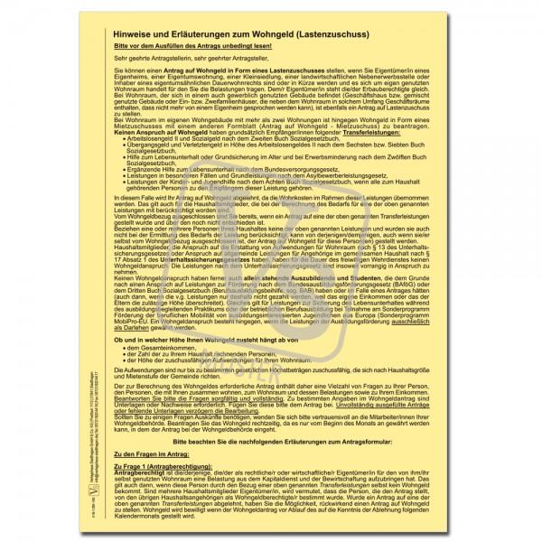 Erläuterungen zum Antrag auf Lastenzuschuss
