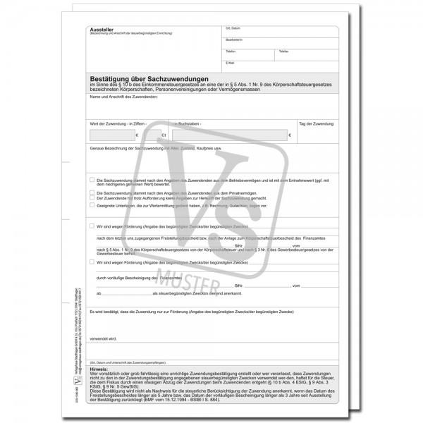 Bestätigung über Sachzuwendungen an eine der in §5 Abs. 1 Nr. 9 des KStG