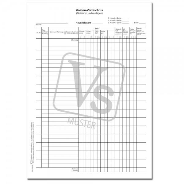 Kosten-Verzeichnis als Quittung und Nachweis ü. Gebühren… Melde- und Ordnungsämter